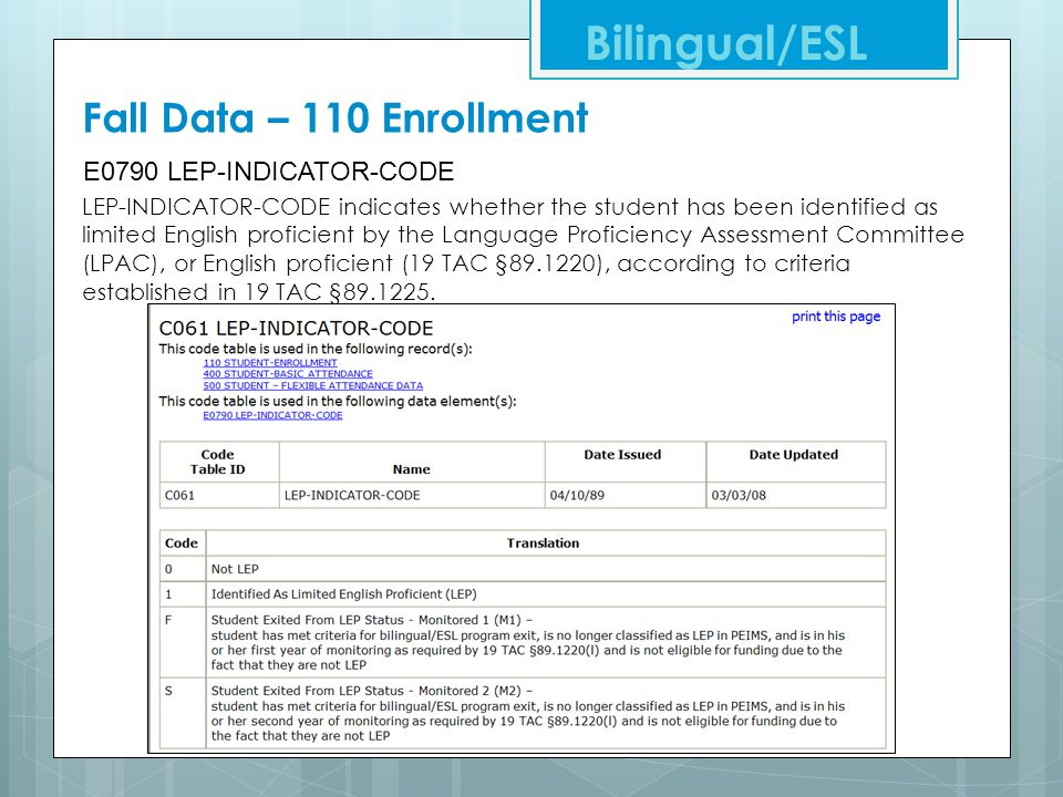 Bilingual/ESL Fall Data – 110 Enrollment E0790 LEP-INDICATOR-CODE