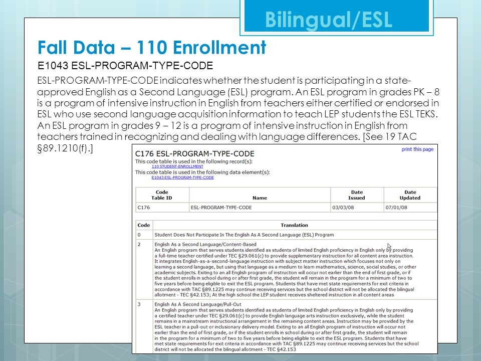 Bilingual/ESL Fall Data – 110 Enrollment E1043 ESL-PROGRAM-TYPE-CODE