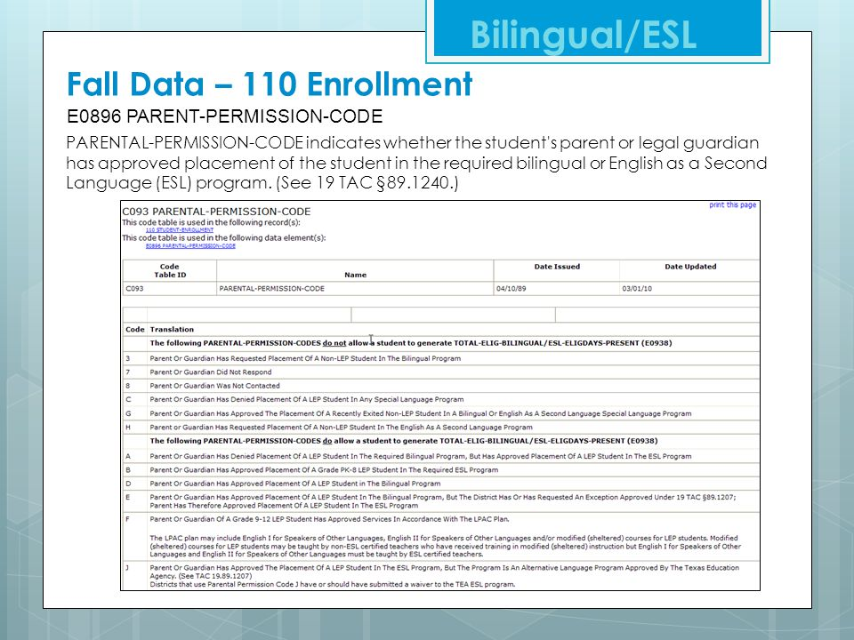 Bilingual/ESL Fall Data – 110 Enrollment E0896 PARENT-PERMISSION-CODE