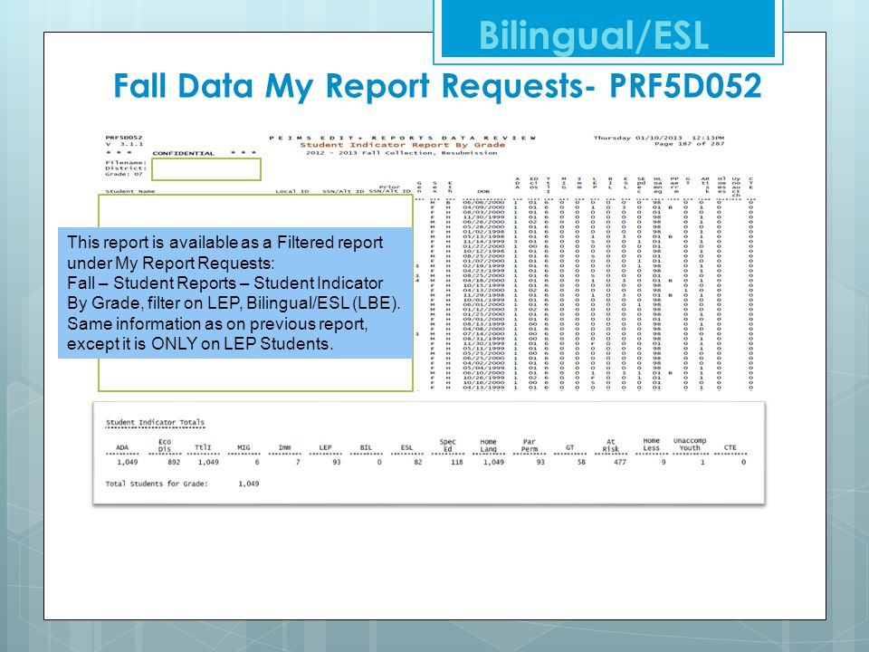 Fall Data My Report Requests- PRF5D052