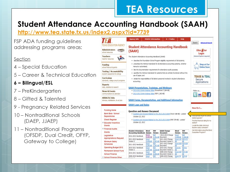 TEA Resources Student Attendance Accounting Handbook (SAAH)