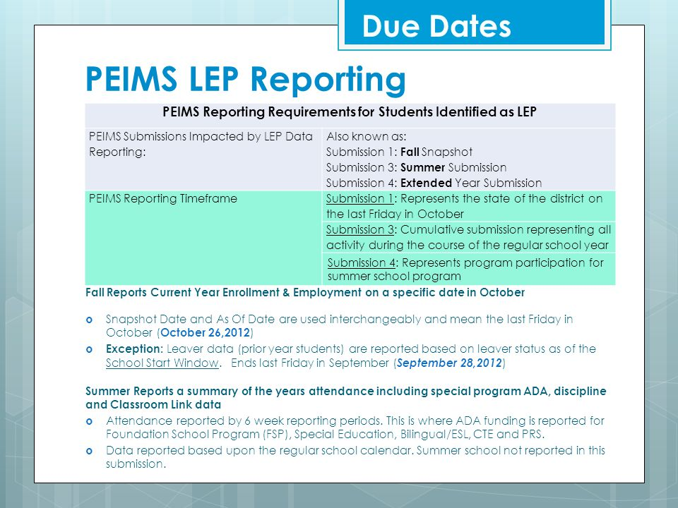PEIMS Reporting Requirements for Students Identified as LEP
