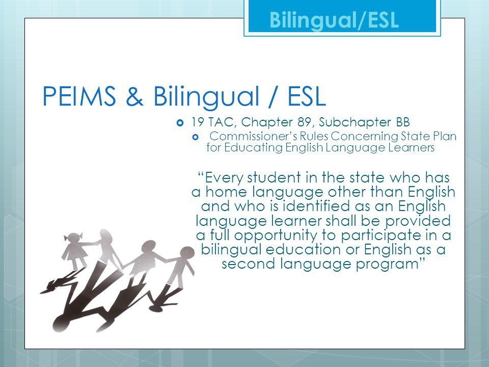 PEIMS & Bilingual / ESL Bilingual/ESL