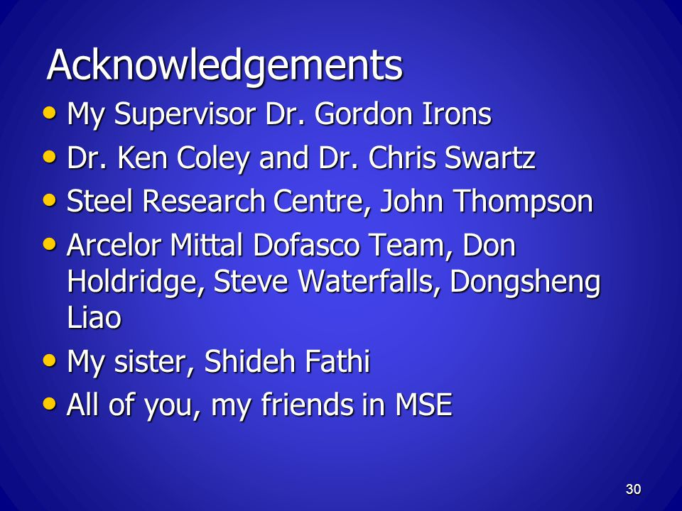 Acknowledgements My Supervisor Dr. Gordon Irons