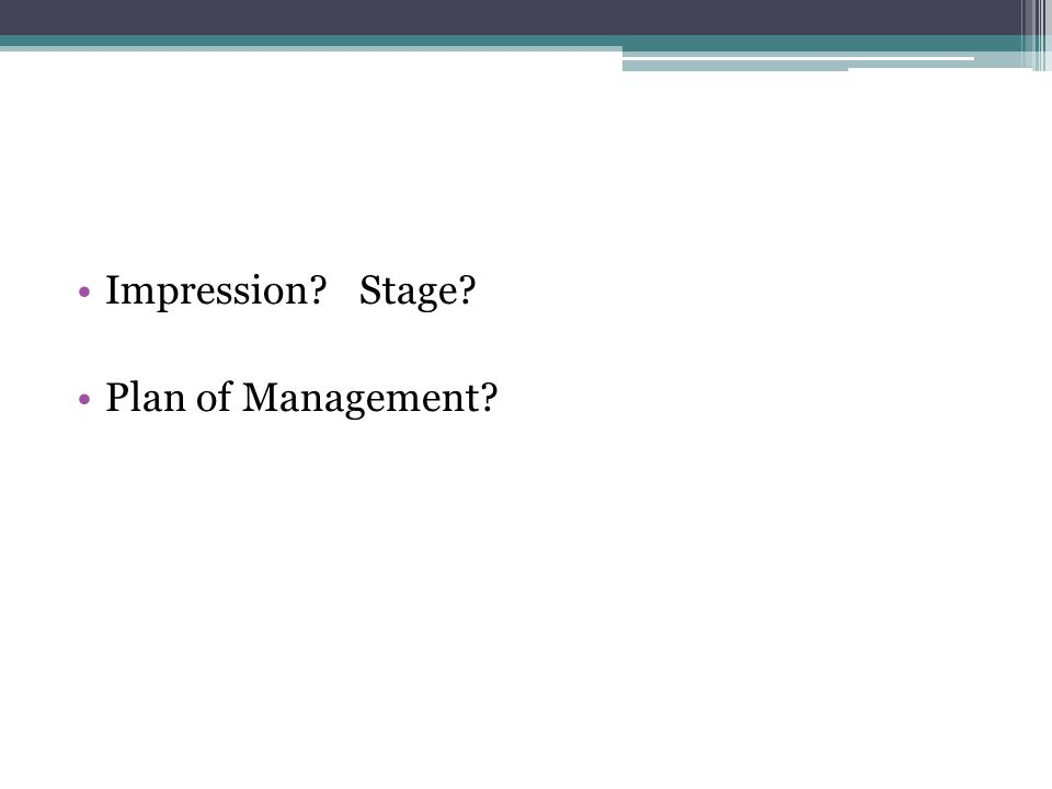 Impression Stage Plan of Management