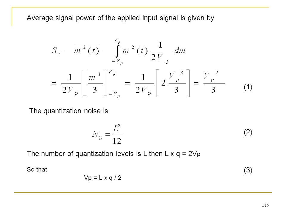 Average signal power of the applied input signal is given by