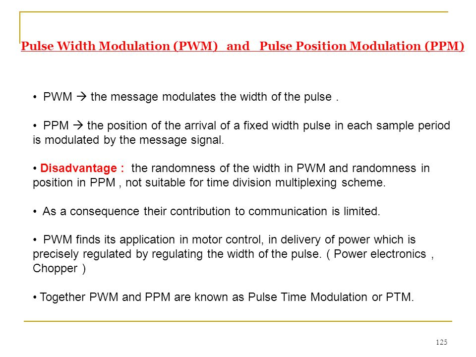 Pulse Width Modulation (PWM) and Pulse Position Modulation (PPM)