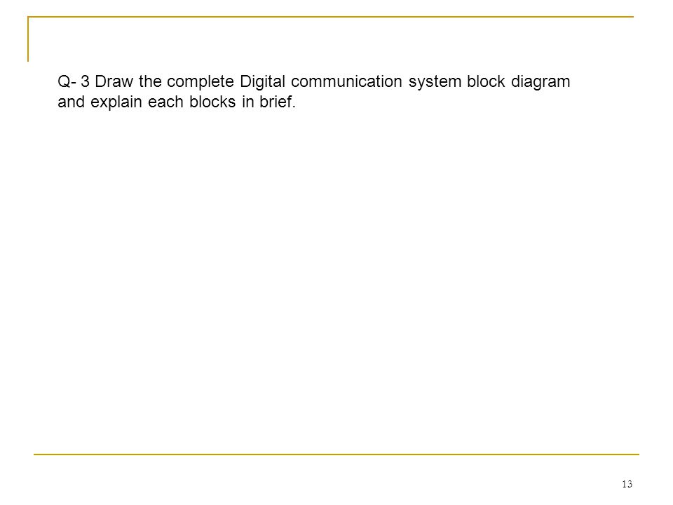 Q- 3 Draw the complete Digital communication system block diagram and explain each blocks in brief.