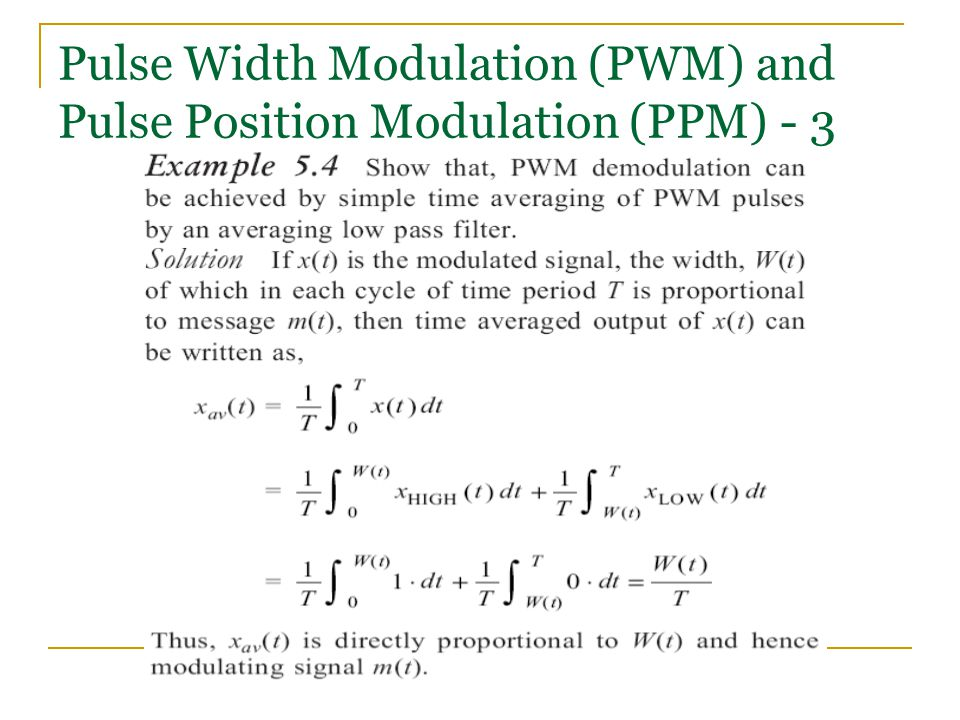 Pulse Width Modulation (PWM) and Pulse Position Modulation (PPM) - 3