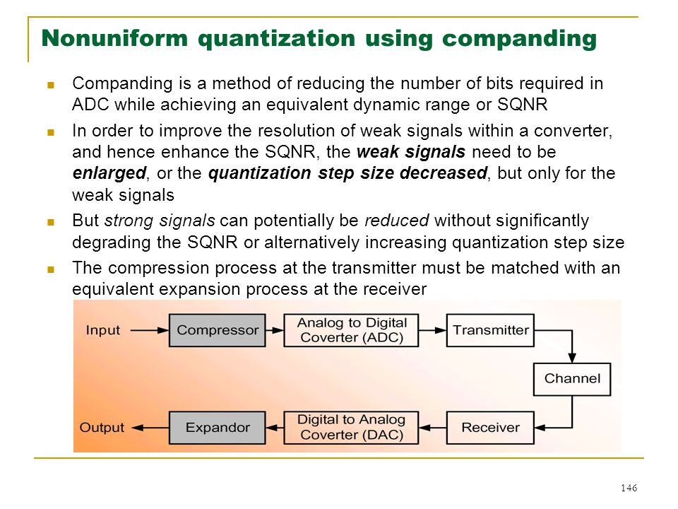 Nonuniform quantization using companding