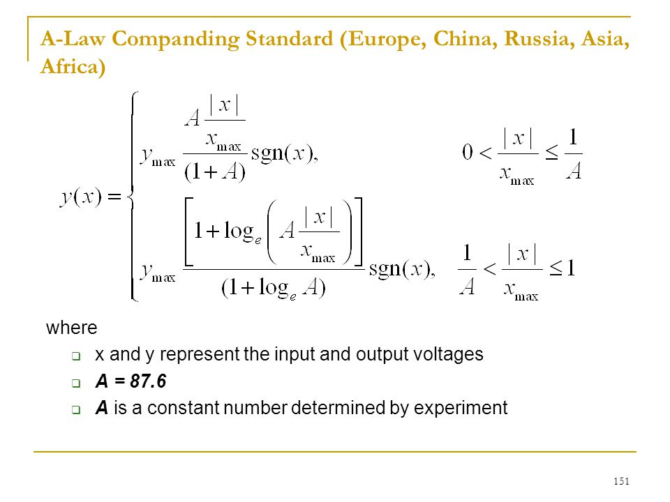 A-Law Companding Standard (Europe, China, Russia, Asia, Africa)
