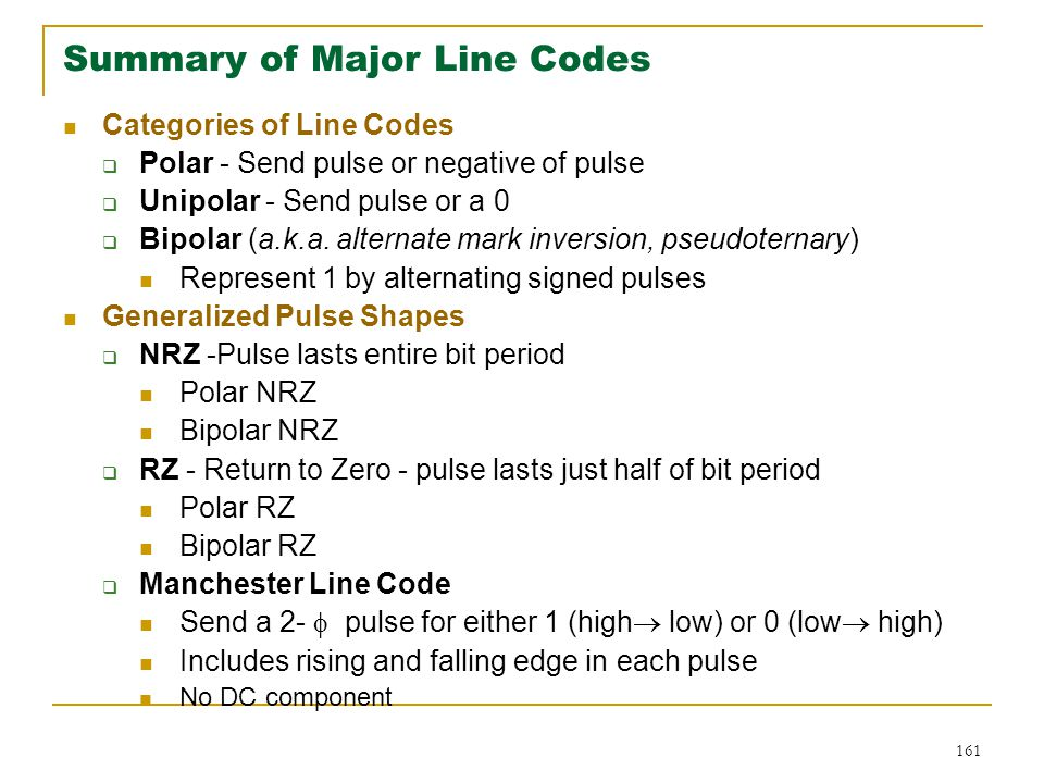 Summary of Major Line Codes