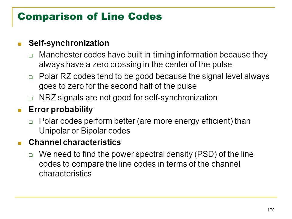Comparison of Line Codes