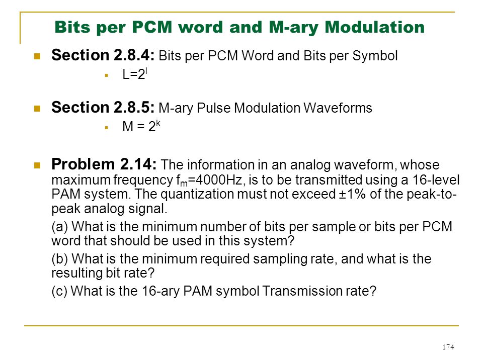 Bits per PCM word and M-ary Modulation