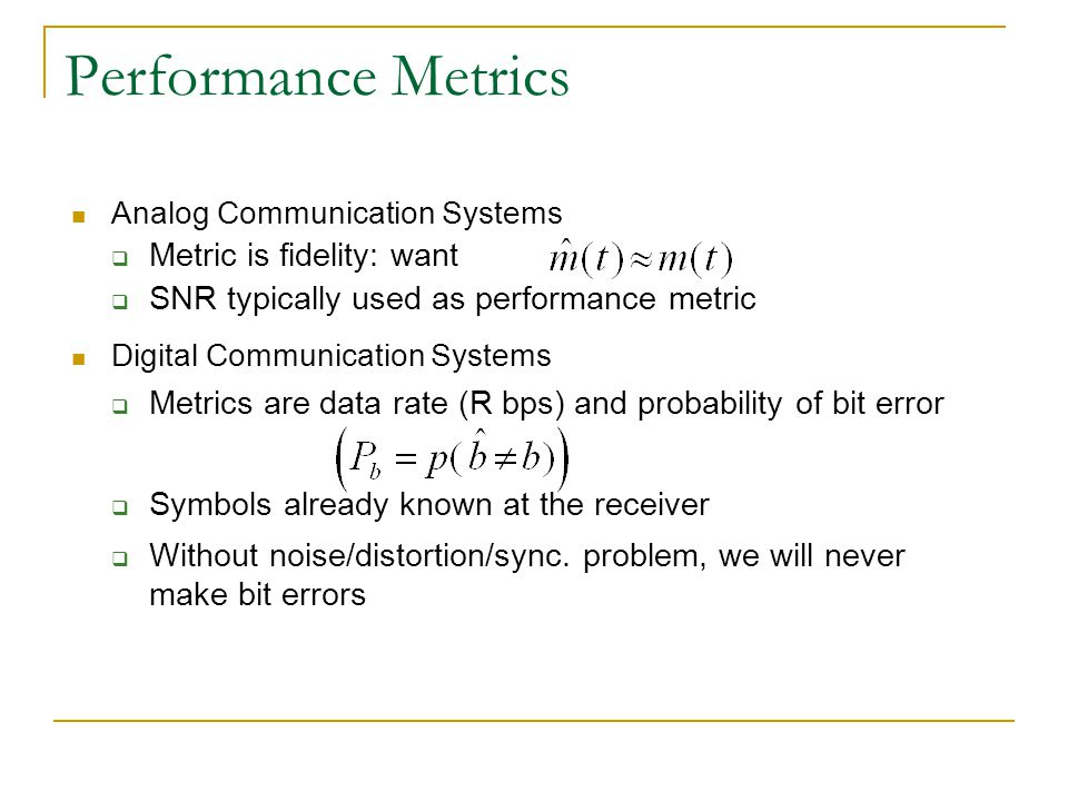 Performance Metrics Metric is fidelity: want