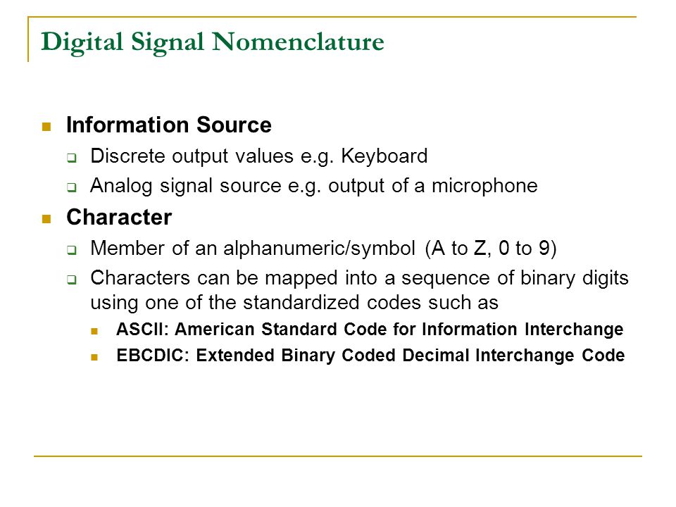 Digital Signal Nomenclature