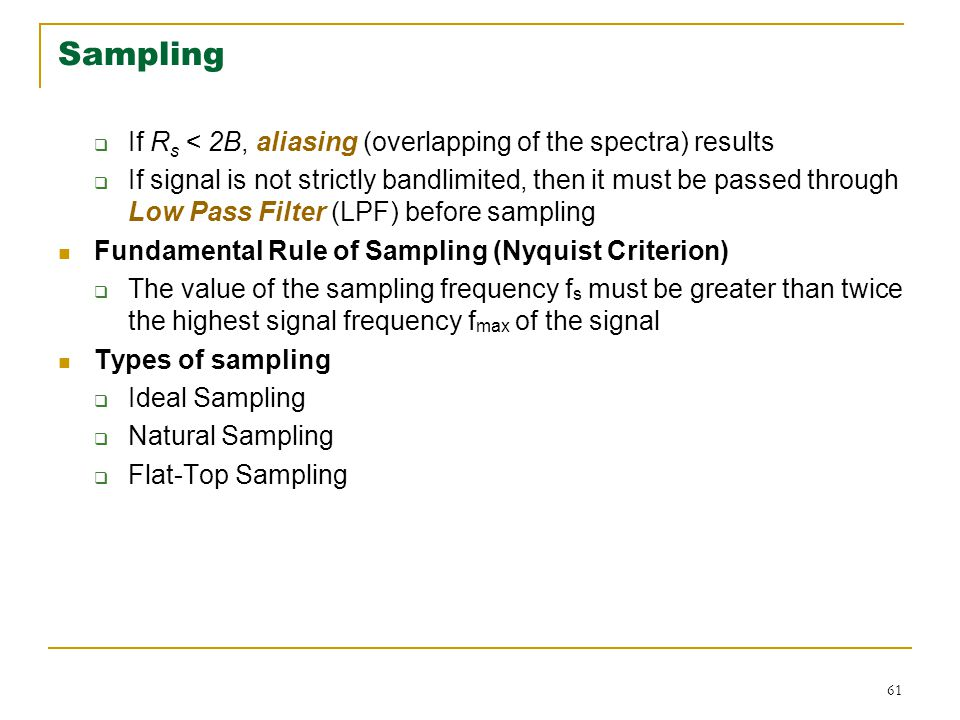 Sampling If Rs < 2B, aliasing (overlapping of the spectra) results