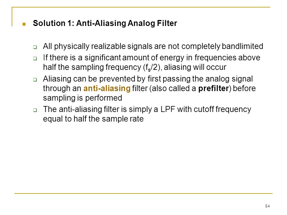 Solution 1: Anti-Aliasing Analog Filter