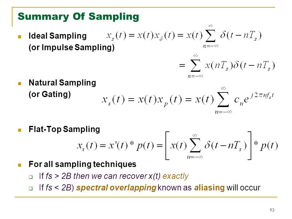 Summary Of Sampling Ideal Sampling (or Impulse Sampling)