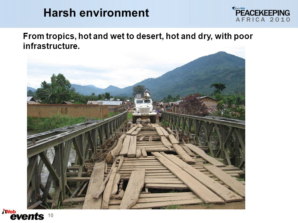 Harsh environment From tropics, hot and wet to desert, hot and dry, with poor. infrastructure.