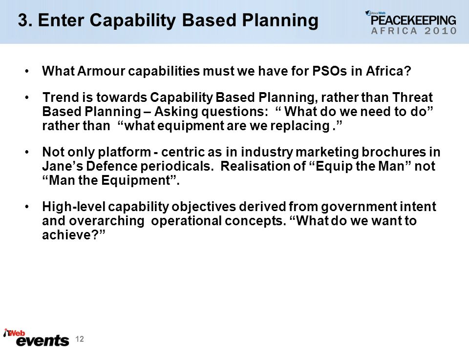 3. Enter Capability Based Planning