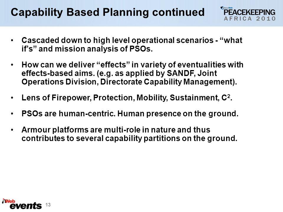Capability Based Planning continued