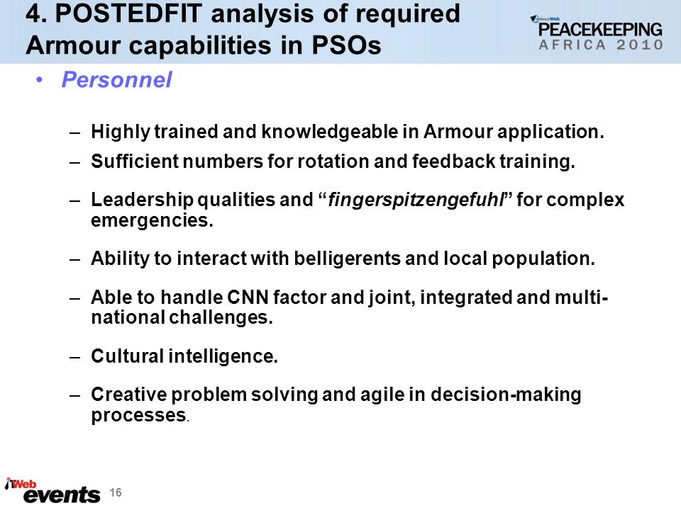 4. POSTEDFIT analysis of required Armour capabilities in PSOs