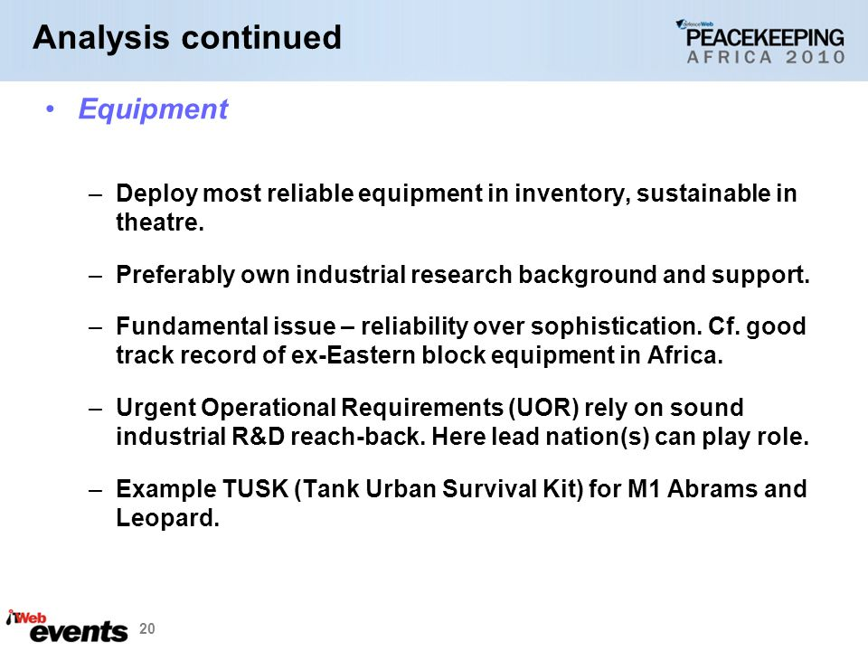 Analysis continued Equipment
