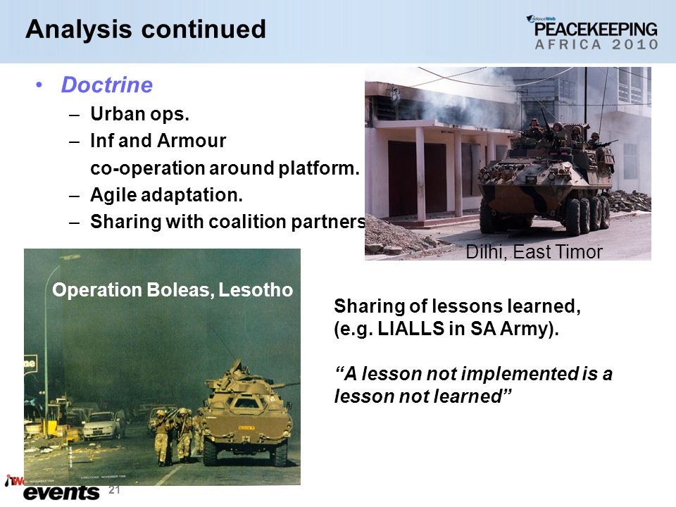 Analysis continued Doctrine Urban ops. Inf and Armour