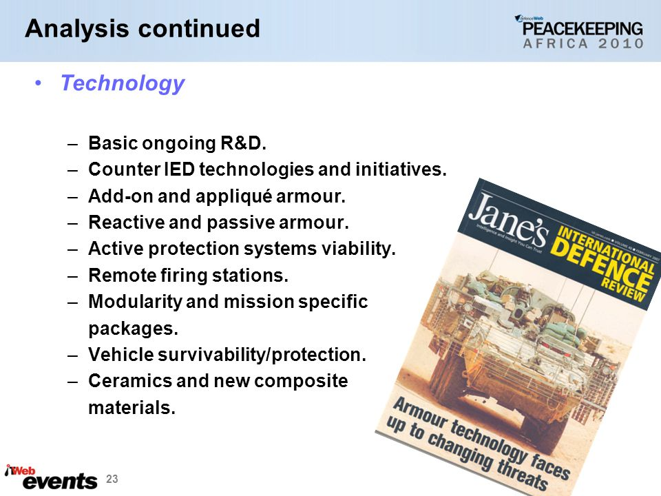 Analysis continued Technology Basic ongoing R&D.