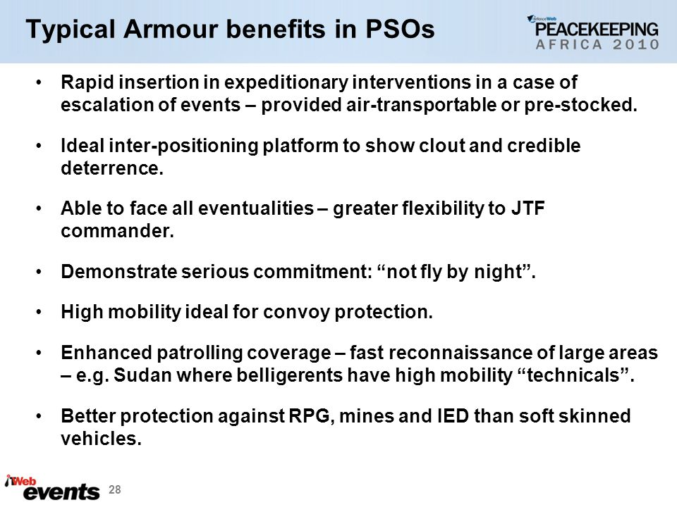 Typical Armour benefits in PSOs