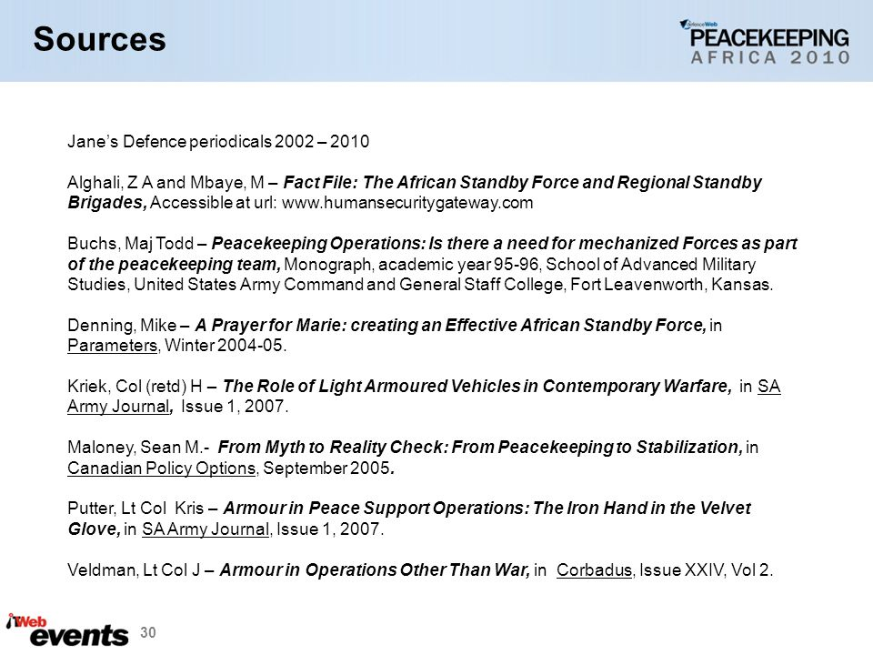 Sources Jane's Defence periodicals 2002 – 2010