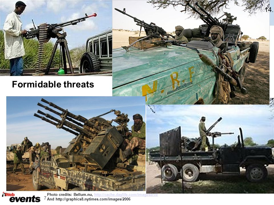 14. Formidable threats. Typical threats to UAV's & lightly armoured vehicles, not so much to Armour.