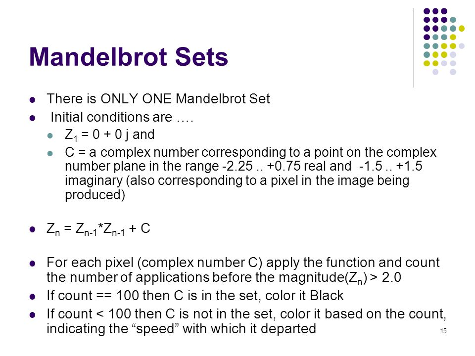 Mandelbrot Sets There is ONLY ONE Mandelbrot Set