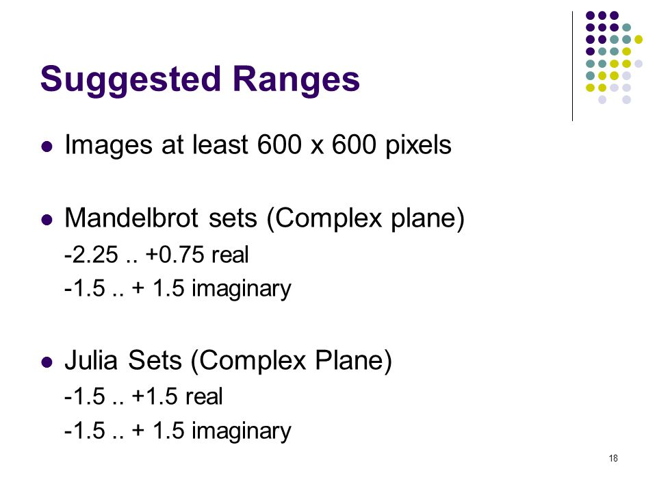 Suggested Ranges Images at least 600 x 600 pixels