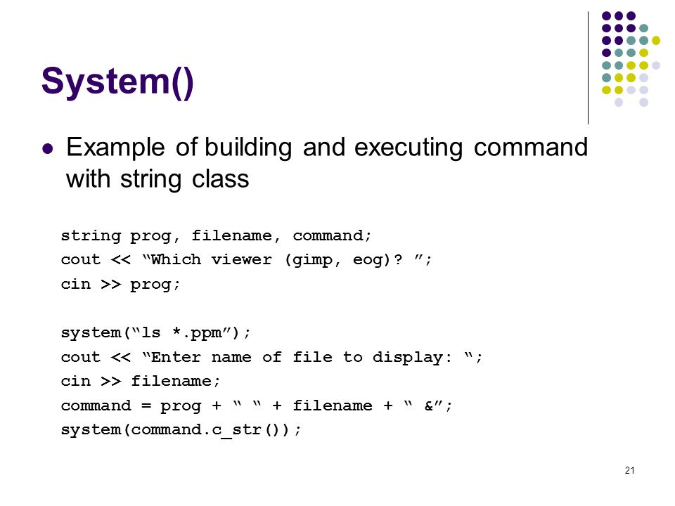 System() Example of building and executing command with string class