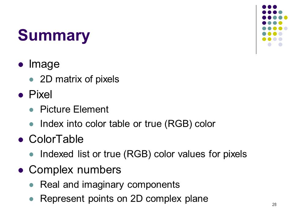Summary Image Pixel ColorTable Complex numbers 2D matrix of pixels