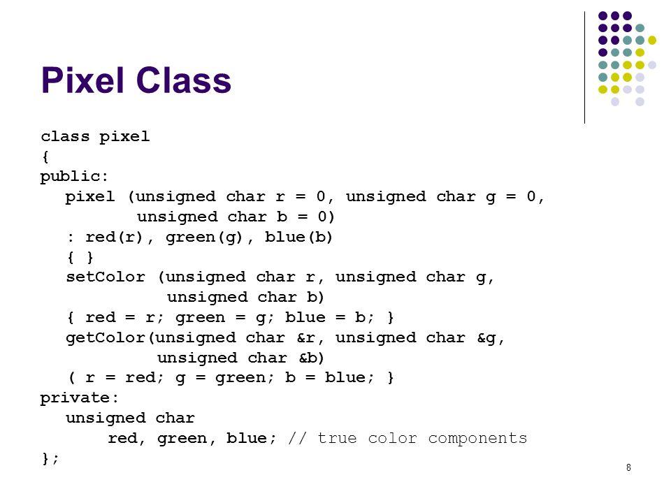Pixel Class class pixel { public: