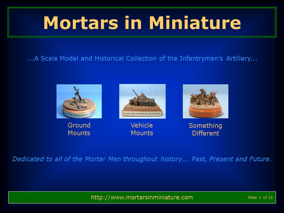 Mortars in Miniature ...A Scale Model and Historical Collection of the Infantryman's Artillery... Ground.