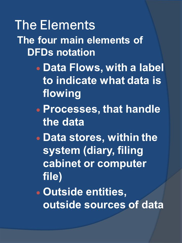 The Elements Data Flows, with a label to indicate what data is flowing