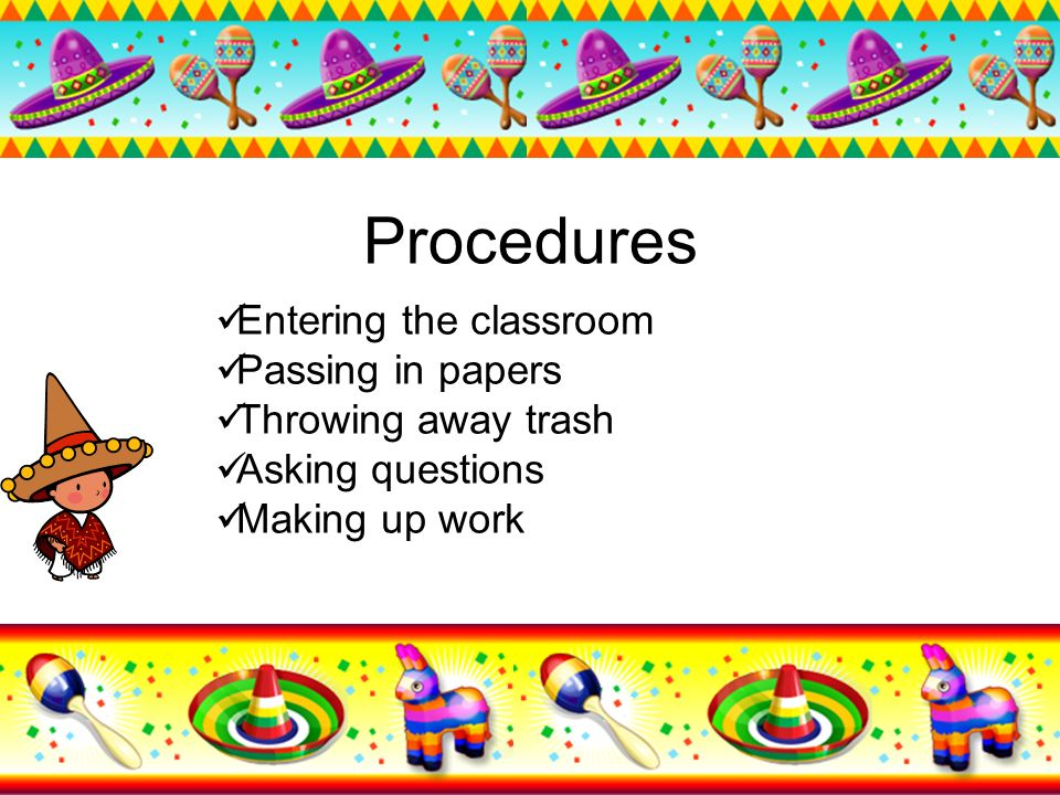 Procedures Entering the classroom Passing in papers
