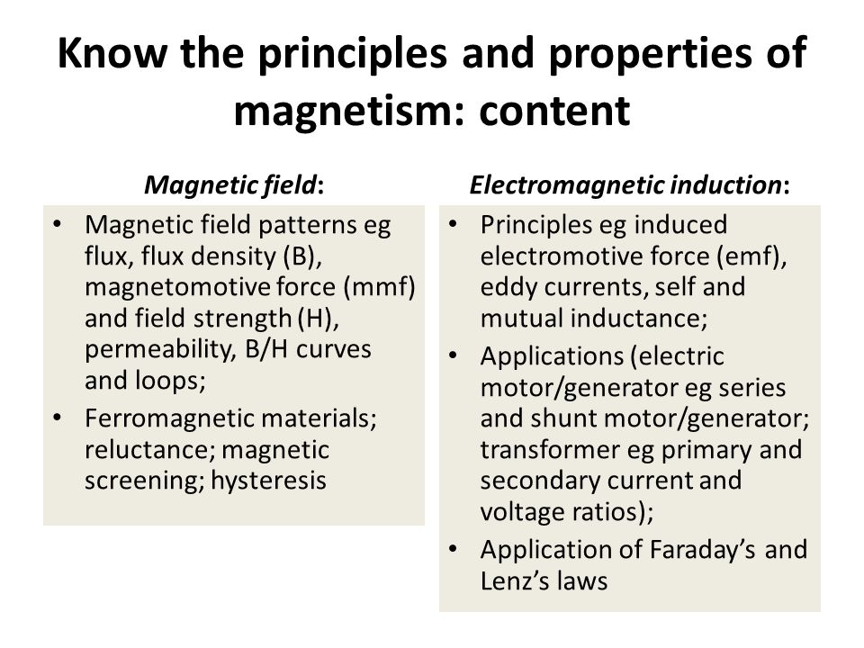 Know the principles and properties of magnetism: content