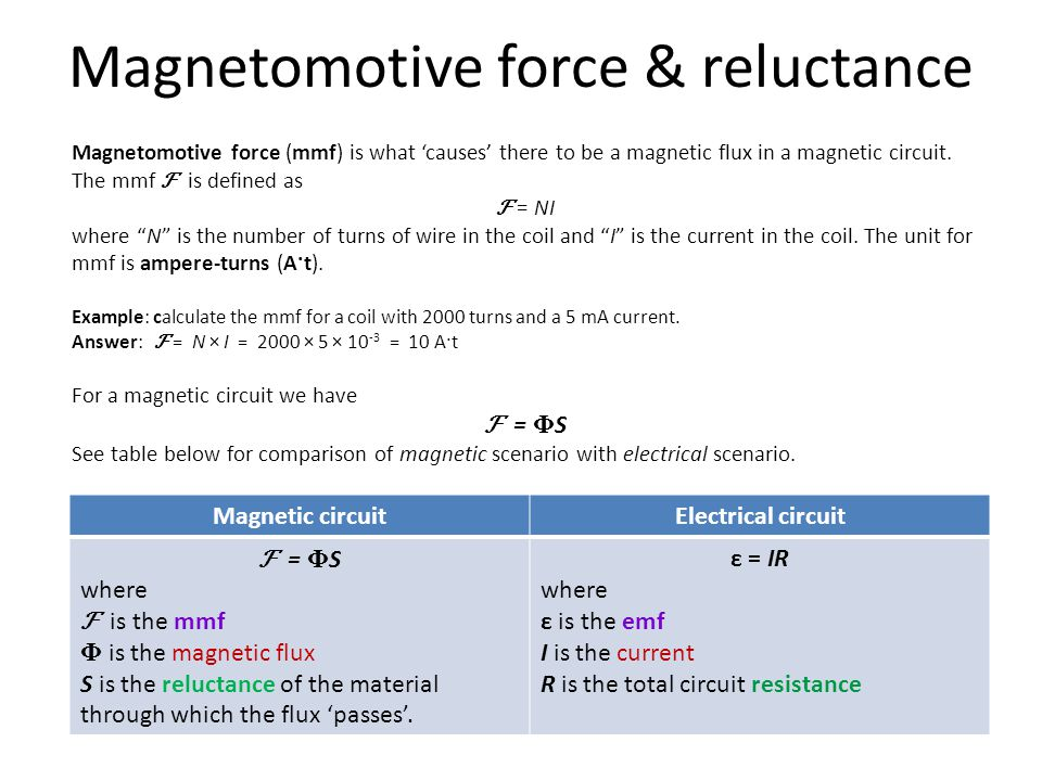 Magnetomotive force & reluctance