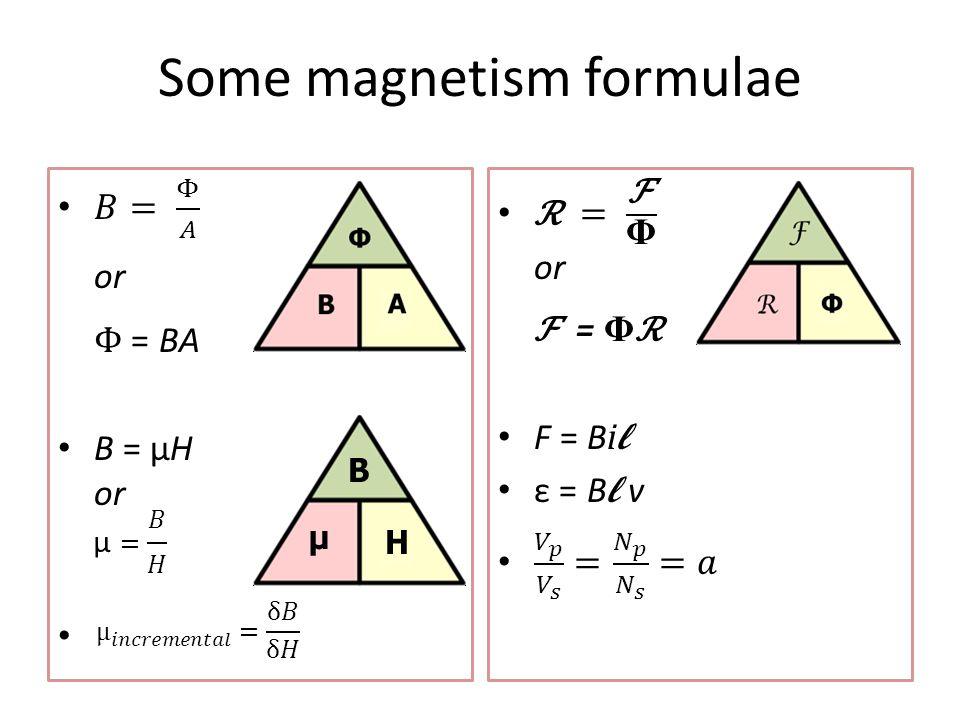 Some magnetism formulae