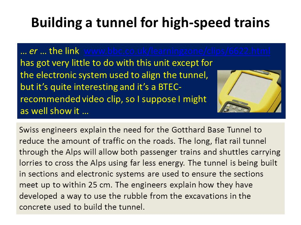 Building a tunnel for high-speed trains