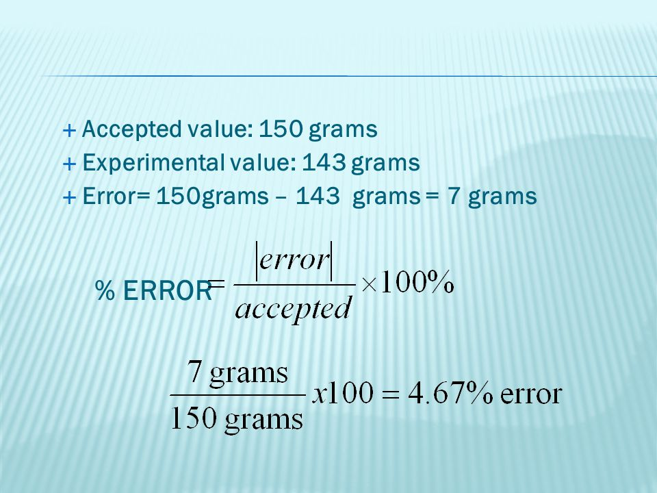 % ERROR Accepted value: 150 grams Experimental value: 143 grams