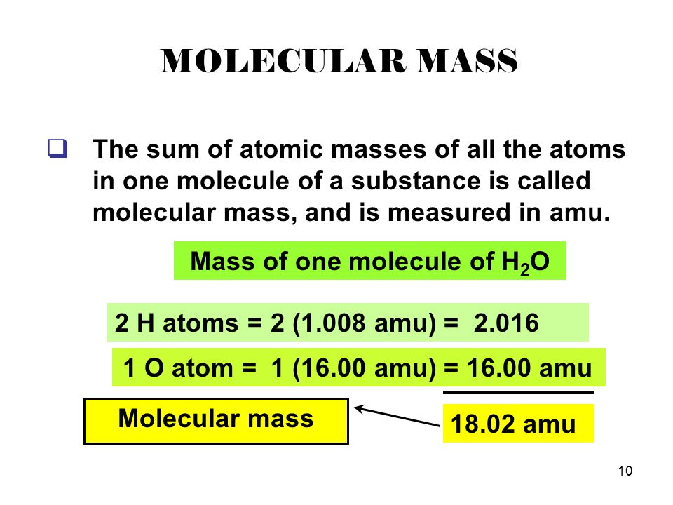 Mass of one molecule of H2O