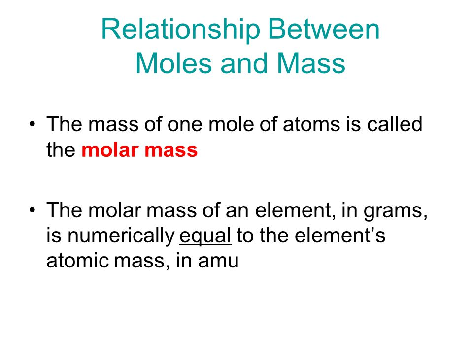 Relationship Between Moles and Mass