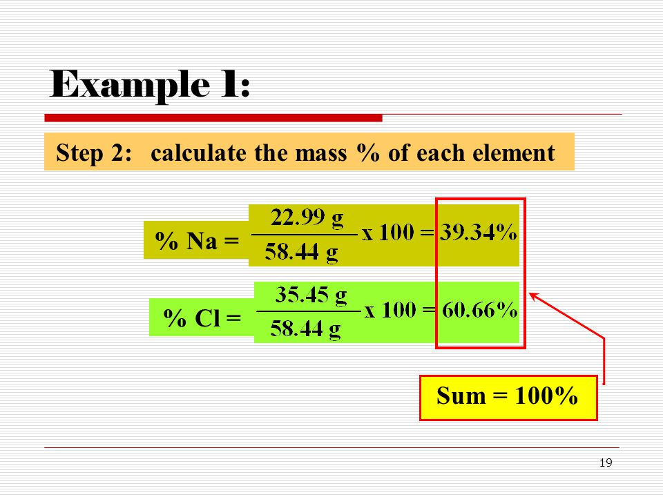 Example 1: Step 2: calculate the mass % of each element Sum = 100%