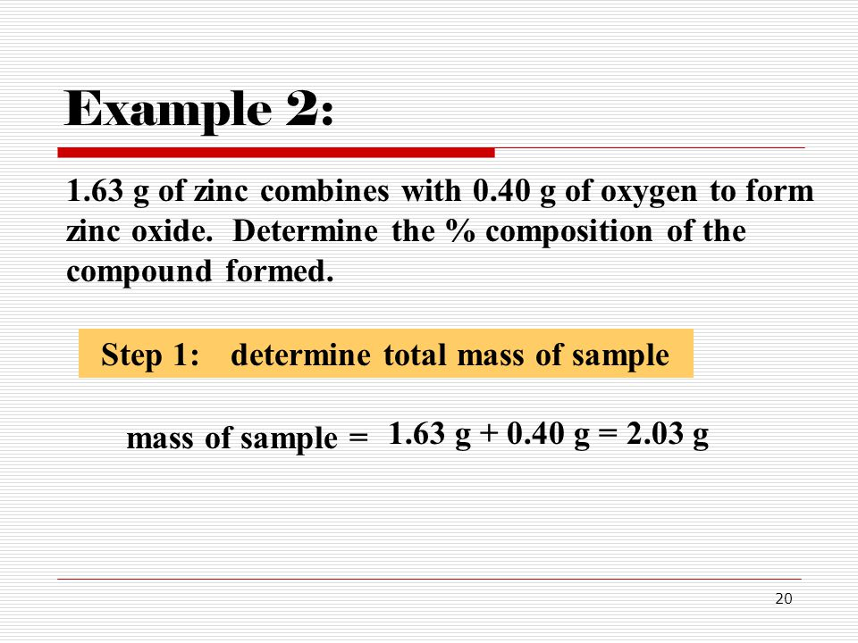 Example 2: mass of sample =